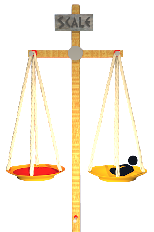 Image of cross as balance scale